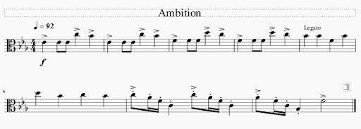 """Sheet music screengrab of the piece """"Ambition""""."""