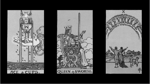 Three cards on top of a black background. The first is Ace of Cups, the second Queen of Swords, and the third 10 of Cups.