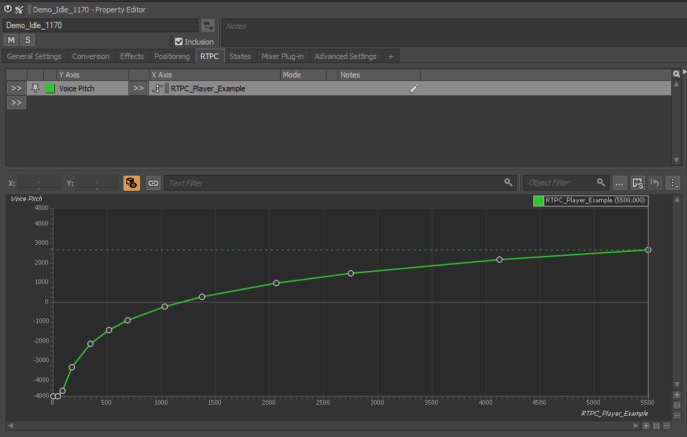 Screengrab in Wwise of the pitch curve